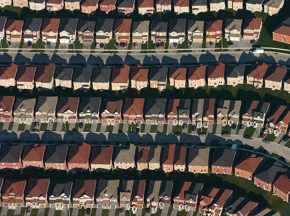 suburb showing many houses in a orderly row